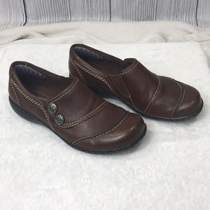 Clarks Bendables Brown Leather Slip on Shoes